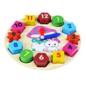 Ioffersuper 1 Pcs Wooden Teaching Clocks, Kids Learning Educational Development Toys Shape Sorting Geometry Clock Toy