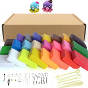 Maudre 24PCS DIY Colourful Clay,Soft Moulding Craft Oven Baking Clay, Malleable Fimo Polymer Clay Plasticine Includes Tools,Accessories and Tutorials for Kids