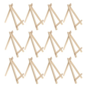 Wood Display Easel, Pengxiaomei 12 Pieces 15cm Wedding Place Name Holder Menu Board Mini Set for Painting Craft Drawing