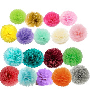 X-Sunshine Outdoor Indoor 18Pcs 25cm 20cm Pom Poms DIY Tissue Paper Flowers Multi-Colours Christmas Wedding Party Room Decor Pom Pom Flowers Pom Poms Crafts Handmade Decoration