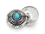CRAFTMEmore Decorative Concho Feather Turquoise Flower Navajo Wallet Indian Charm Screw Back Buttons Leather Craft 2.9cm 2PCS