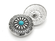 CRAFTMEmore Decorative Concho Turquoise Flower Native American Navajo Wallet Cowboy Screw Buttons Leather Craft 2.9cm 2PCS