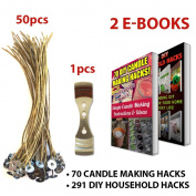 """CozYours 8"""" BEESWAX HEMP CANDLE WICKS 50 pcs with 1 Metal Holder; ORGANIC & NATURAL; Thick Gauge 0.08"""" (2.0mm); 70 CANDLE MAKING HACKS + 291 DIY HOUSEHOLD HACKS E-BOOKS INCLUDED"""