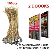 "CozYours 8"" BEESWAX HEMP CANDLE WICKS 100 pcs; ORGANIC & NATURAL; Thick Gauge 0.08"" (2.0mm); 70 CANDLE MAKING HACKS + 291 DIY HOUSEHOLD HACKS E-BOOKS INCLUDED"