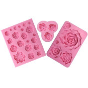 Funshowcase Assorted Sizes Roses Fondant Candy Silicone Mould for Sugarcraft Cake Decoration, Cupcake Topper, Polymer Clay, Soap Wax Making Crafting Projects, 3 Count
