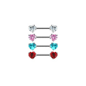 Pair Of Nipple Rings With Jewelled Heart Front-Facing Ends 14G 1.4cm