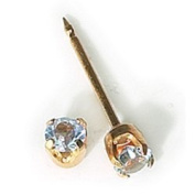 INVERNESS 24K Gold Plate Birthstone Gems 3mm Piercing Earrings March Aquamarine 83C or 83E by Inverness