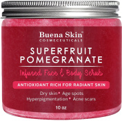 Buena Skin Superfruit Pomegranate Face & Body Scrub, 300ml — Renews Your Skin's Youthful Radiance | Great For Dry Skin, Age Spots, Hyperpigmentation, Acne Flare-Ups and Acne Scars