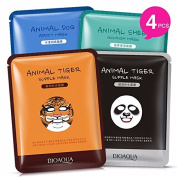 Moisturising Face Mask Sheet Enriched with 100% Natural Serum for Radiant and Nourished Skin. At Home Spa Facial with Fun Animal Characters