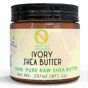 (240ml) Nilotica Organics - IVORY Unrefined Shea Butter From - (Ghana), African Raw Body Butter - For Skin Care, Hair Care & DIY Recipes, Eczema & Stretch