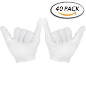 Paxcoo 20 Pairs Medium White Cotton Gloves for Cosmetic Moisturising and Coin Inspection