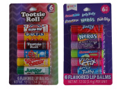 12 Pack Tootsie Roll Candy and Classic Sweet and Sour Candy Flavoured Lip Balms