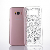 for Samsung Galaxy S8 Plus Case, Moonmini Slim Fit Luxury Bling Glitter Sparkling Shiny Flexible Soft TPU Gel Gold Foil Protective Back Case Cover Silver