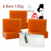 KOJIE SAN FACE & BODY SOAP WITH INCLUDED SOAP NET - 6 Bars of Kojie San Skin Lightening Kojic Acid Soap 135g and Authentic Leafa Soap Net, #1 Skin Whitening Soap!