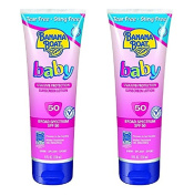 Banana Boat Baby Sunscreen Lotion SPF 50, 300ml (2 Pack) + FREE Travel Toothbrush, Colour May Vary