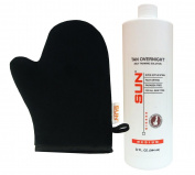 Sun Laboratories Tan Overnight (Medium) Self Tanning Micro Mist Spray Tan Solution (950ml)+ Tanning Mitt for Airbrush Tanning