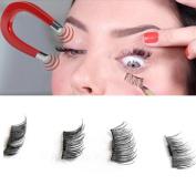 Magnetic False Eyelashes,Elevin(TM)4PCs Women Ladies NEW Ultra-thin 0.4mm Magnetic Eye Lashes 3D Reusable False Magnet Eyelashes Extension