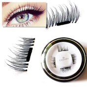 New False MAGNETIC Eyelashes by CoeurX, 1 Pair 4 Pieces | 0.2mm Ultra Thin Fake Mink Eyelashes for Natural Look | Reusable Best Fake Lashes | Cruelty Free | Perfect for Deep Set Eyes & Round Eyes
