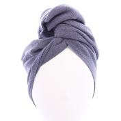 AQUIS Original,Long Hair Towel, Lisse Crepe, Dark Grey
