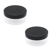 SelfTek 2Pcs 50ml Empty Sifter Jar Loose Powder Case Face Powder Blusher Jar Containers with Sifter