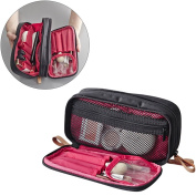 Makeup Handbag Travel Cosmetic Bags Brush Pouch Toiletry Kit Fashion Women Jewellery Organiser with Double zipper Brush Holders Carry Case Portable Cube Purse