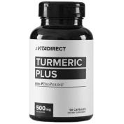 VitaDirect Premium Grade 500mg Turmeric Curcumin (Plus 20mg Bioperine), 90 Vegetarian Capsules