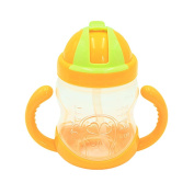 Double Handle Baby Trainer Straw Type Kids Feeding Drinking Water Cup Yellow