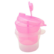 3 Layers Mini Rotating Kids Milk Powder Container Storage Feeding Box Pink