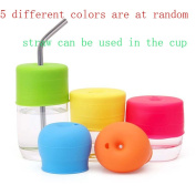 5 Pack Silicone Sippy Cup Lids - Elephant Silicone Spout Makes Cup into Spill-Proof Sippy Cup for Babies and Toddlers