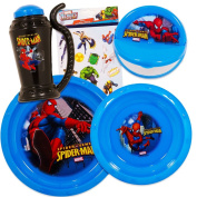 Marvel Spiderman Toddler Dinnerware Set - Plate, Bowl, Sippy Cup, Snack Container, Stickers