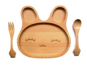 Eco Life - Natural Beech Wood Baby Feeding Set 3pcs