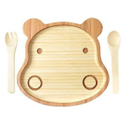 La Boos Hippo Toddler Feeding Set (Plate and Utensils), Infant Feeding Bamboo Stay Put Suction Divided Plate