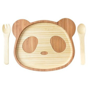 La Boos Panda Toddler Feeding Set (Plate and Utensils), Infant Feeding Bamboo Stay Put Suction Divided Plate