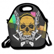 Tydo Lunch Bags Yellow Skull Head Tote Bags Picnic Bags Snack Bags For Men Women Girls Boys
