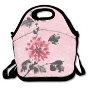 Tydo Lunch Bags Ink-wash Flower Shoulder Bags Picnic Bags Fast Food Packaging For Teen Adult Kids Children