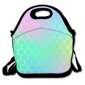 Colourful Mermaid Tail Scale Extra Large Insulated Lunch Box Food Bag