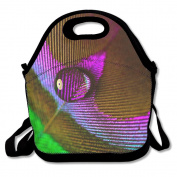 Peacock Feather Extra Large Gourmet Lunch Tote Food Handbag