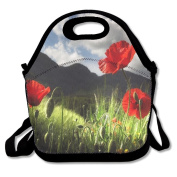 Poppy Flowers Extra Large Gourmet Lunch Tote Food Bag