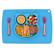 Premium Silicone Baby Placemat,One-Piece Suction Plate with Soft tip Spoon and Fork included , 3 Compartments Food Plate,Baby Table Place Mat for Toddlers,Infants and Kids