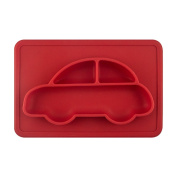 Shinybaby Kids Placemats Silicone Plate Feeding Tray Baby Placemats Travel Portable One-piece Car Design Placemats For Kids & Toddler,Red
