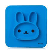 Blue Silicone Baby Placemat with Suction 1 Divided Kids Plates Dinner Mat for Toddlers, Babies, Kids and Infants BPA Free with Strong Sticky Table Suction Dishwasher and Microwave Safe