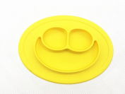 Silicone Placemat happy face + reusable bag, plate for Kids, Babies, and Toddlers,with Strong Suction for Dining Table and Highchair - Microwave Safe; Non-toxic, FDA Approved, BPA Free yellow