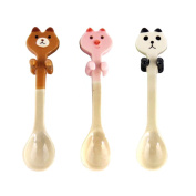 KateDy 3pcs Baby Ceramic Dessert Spoon Cute Animals Handle Tea Coffee Feeding Small Spoon,Can Be Hanging Cup Spoons,Perfect Gift for Boys Girls