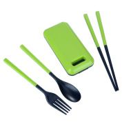 HooAMI Portable Plastic Tableware Spoon Fork Chopsticks Set Creative Students Set for Travel and Outdoor