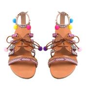 Ikevan Women Bohemia Sandals Gladiator Leather Sandals Flats Shoes Pom-Pom Sandals