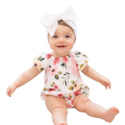 EKIMI Baby Girl Floral Short Sleeve Jumpsuit Romper Outfits