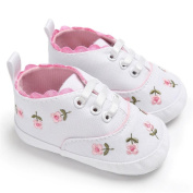 EMIKI Infant Girls Crib Floral Shoes Soft Sole Anti-slip Sneakers Canvas