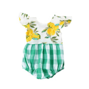 For 0M-3Y, UMFun Newborn Baby Girls Lemon Print Plaid Rompers Jumpsuit Outfits Clothes