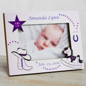 Personalised Baby Picture Frame, Baby Girl Picture Frame, New Baby Girl Frame, Baby Girl Frame, Baby Girl Birth Frame, Baby Western Cowgirl Frame - Purple