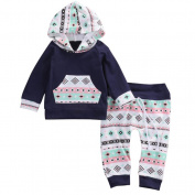 For 6M-24M, UMFun Infant Baby Girl Boy Clothes Set Geometric Hooded Tops+Pants Outfits